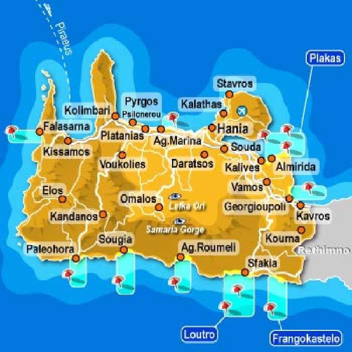 Carte De La Crete Ouest.La Crete Le Nord Ouest