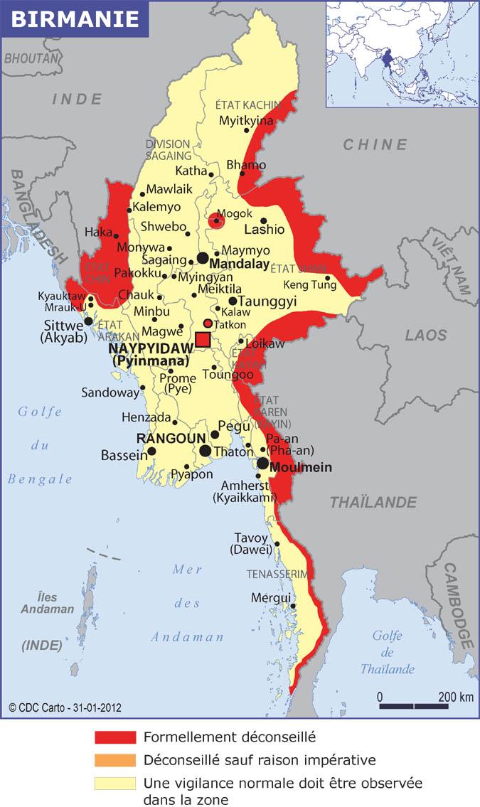 Birmanie Carte Regions.Myanmar